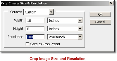 Photoshop CS6 - Innovative New Crop Tool: screen shot of Crop Tool Size & Resolution box by John Watts.