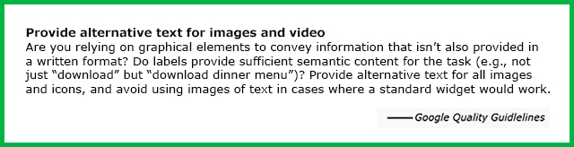 Google Quality Guideline text for providing alternate text for images and video.