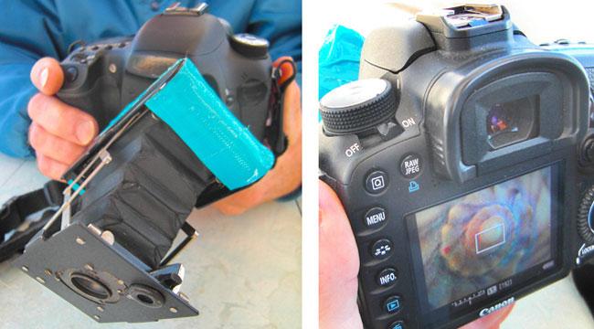 Photos of combined Vest Pocket Kodak camera and Canon 7D digital SLR camera by Jim Austin