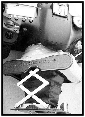 Photo of combined Vest Pocket Kodak camera and Canon 7D digital SLR camera by Jim Austin