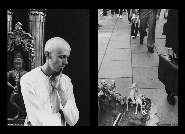 Photo diptych of man contemplating the life cycle on 42nd St., N.Y. by Ned Harris.