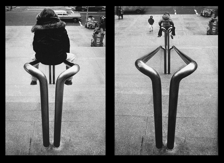 Photo diptych of boys on banisters making a playground of the entrance to the Metropolitan Museum of Art by Ned Harris.