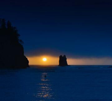 Sunset photo at First Beach Photo on the Olympic Peninsula, Washington by Michael Leggero