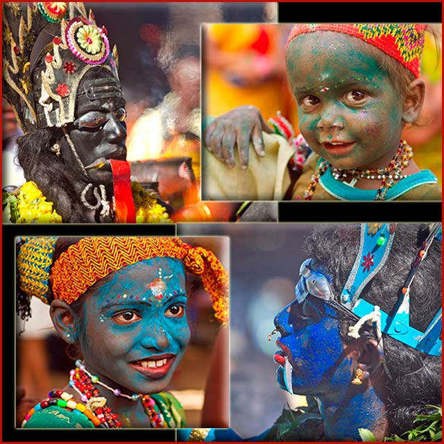 Dasara festival in India: adult and children with painted faces and colorful jewelry celebrate the festival by Kris Hariharan.
