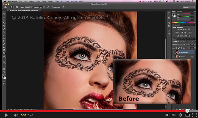 Screen shot of a models eyes were made to sparkle using Photoshop tools by Katelin Kinney.