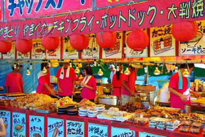Photo of food booth at Eisa Festival in Okinawa, Japan by Michael Lynch