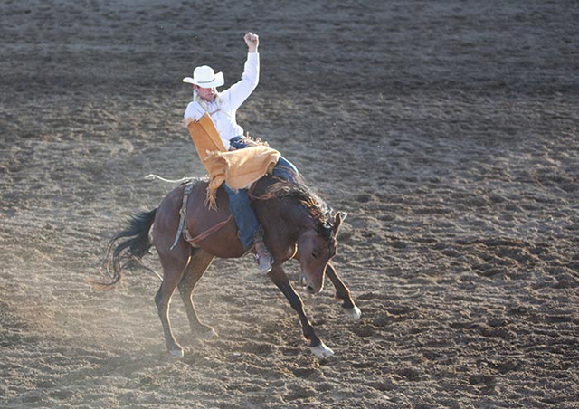 Close-up photo of a bronco rider on a bucking horse by Brad Sharp.