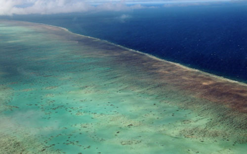 Photo from a helicopter of the Great Barrier Reef, Australia by Cliff Kolber