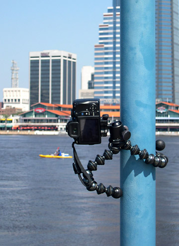 Image of Joby GorillaPod Focus and Ballhead X attached to light pole at St. Johns River in Jacksonville, Florida by Marla Meier.