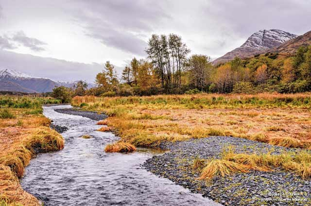 Landscape image of mountains and tidal creek taken in the autumn on Kodiak Island, Alaska by Joseph Classen.