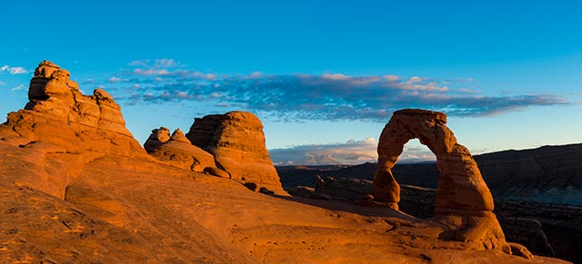 Landscape image of rock formations and rock arche at Arches National Park, Utah by Michael Leggero.