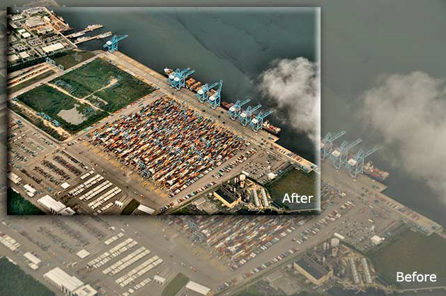 Aerial photo of shipping yard on the river showing before and after post-processing by Allen Moore.