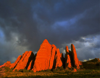 Image of Fiery Furnace Fins - red rock formations at Arches National Park by Lee Watson.