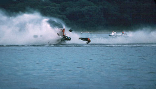 Image of man before hitting the water in jetski race by Willis T. Bird.