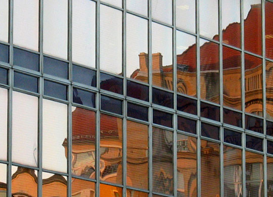Photo of building reflections by Noella Ballenger