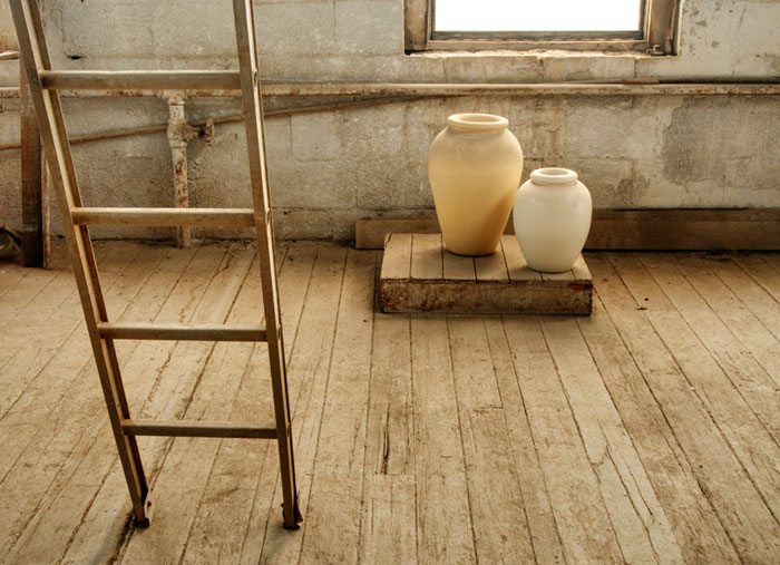 Photo of old ladder and pots at the Gladding, McBean Terra Cotta Factory by Robert Hitchman