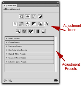 Screen shot of Adjustment Icons in Photoshop by John Watts