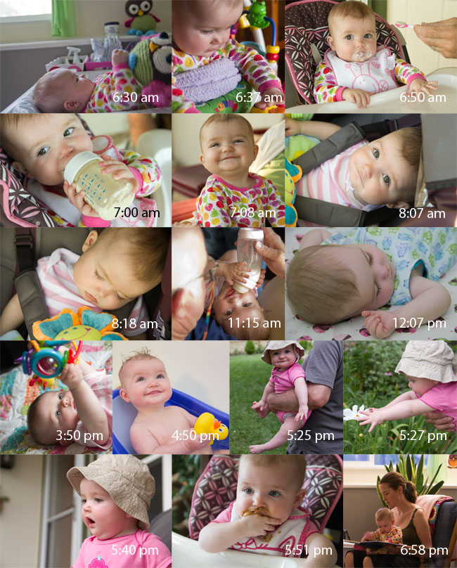 Collage of images of Baby A's daily activities by Elizabeth Powis Fulks.