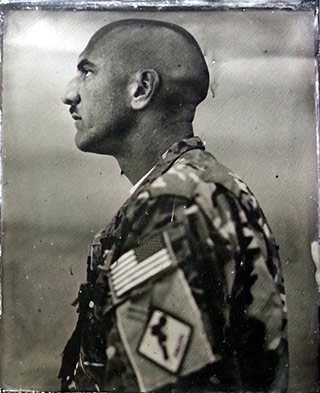 Tintype portrait of a Captain / pilot during the war in Afghanistan by Ed Drew.