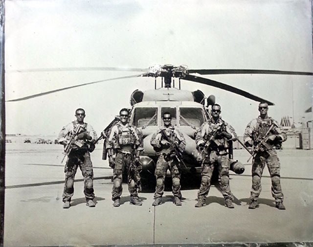 Tintype portrait of a helicopter and pararescuemen during the war in Afghanistan by Ed Drew.