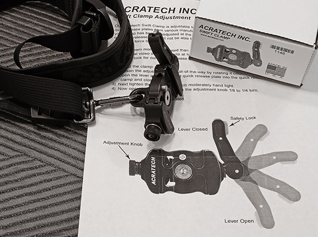 Image of the Acratech Swift Release on a sling style camera strap by Marla Meier.