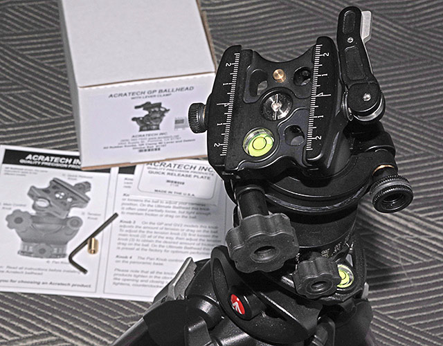 Photo of Acratech GP Ballhead and Lever Clamp right out of the box and setup on tripod by Marla Meier.