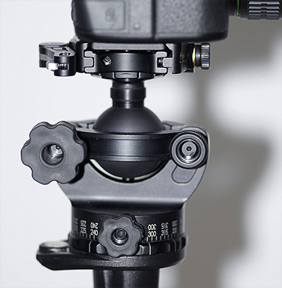 Photo of Acratech GP Ballhead - view of adjustment knobs and open concept ball by Marla Meier.