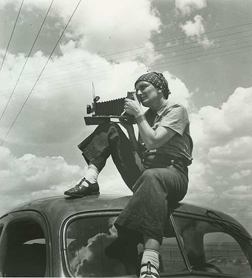 "Dorothea Lange, 1937, as seen in ""American Masters – Dorothea Lange: Grab a Hunk of Lightning."" Photo Credit: Paul S. Taylor, 1936"