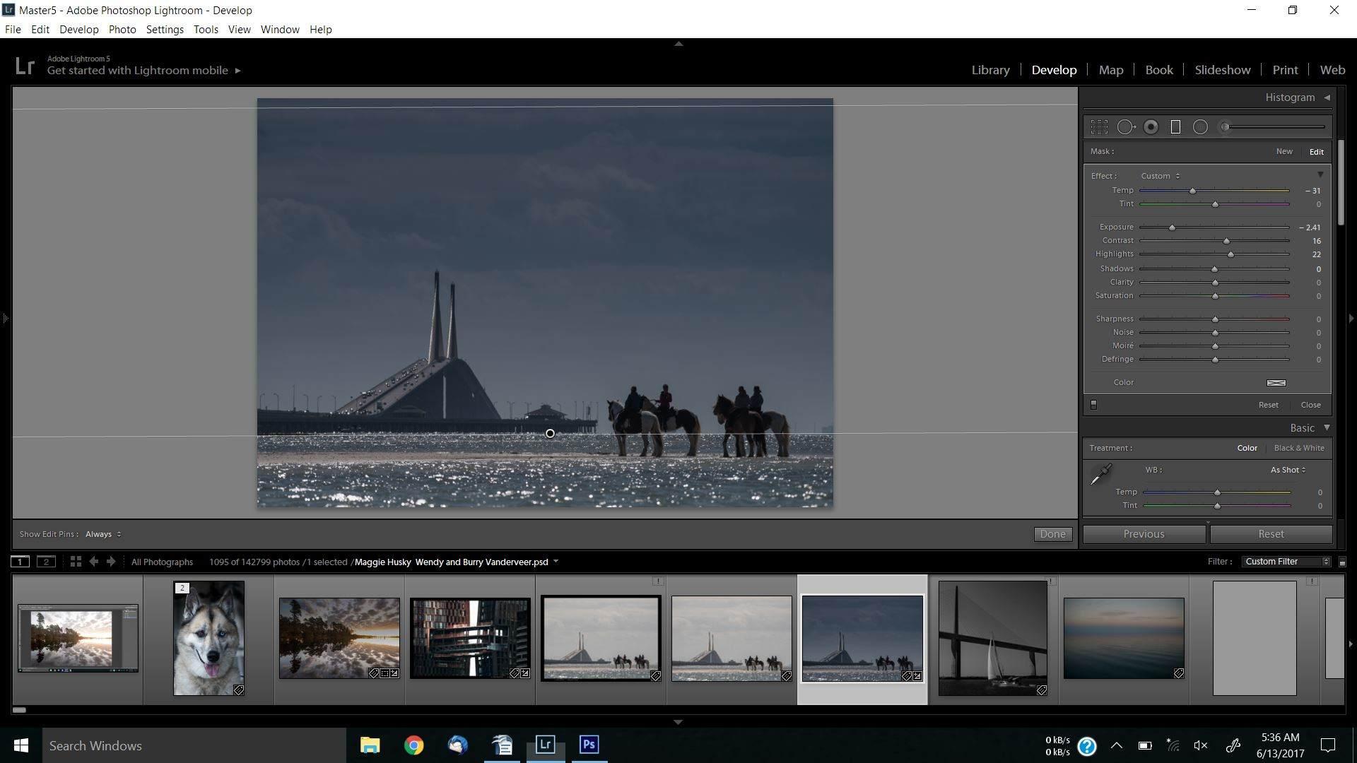 LIGHTROOM BETTER SKIES Four Horse Bridge Grad Filter Drag 32