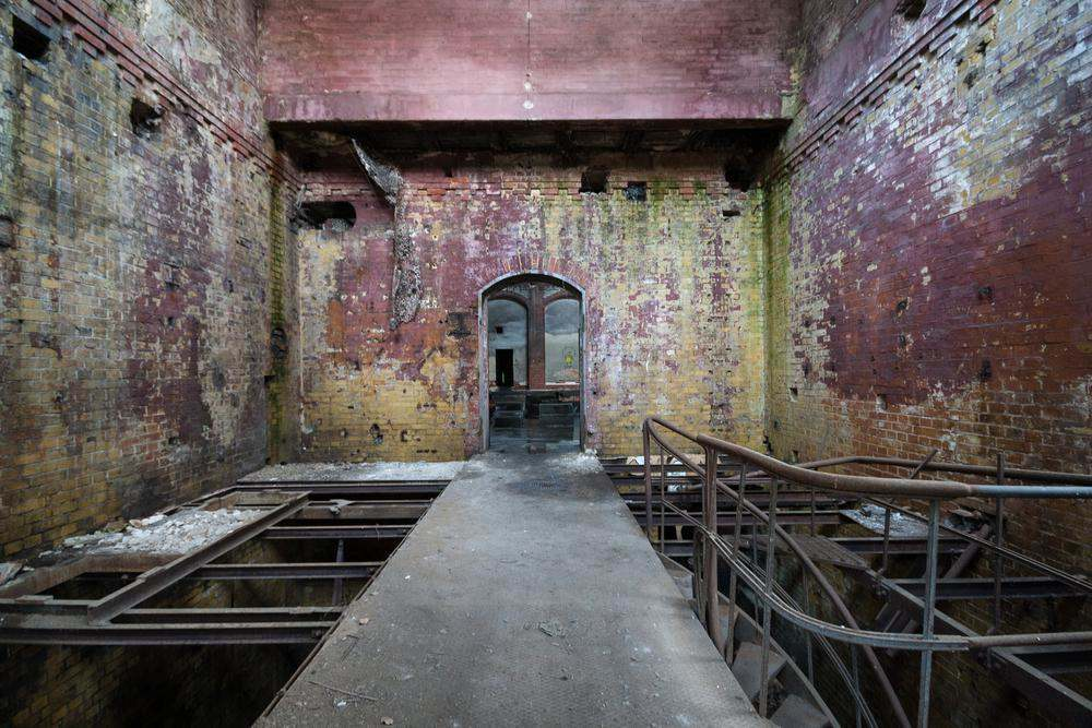 BERLIN, GERMANY - 24 MAY 2010: Abandoned factory, interior of old industry part in the old hospital complex, Beelitz, Germany
