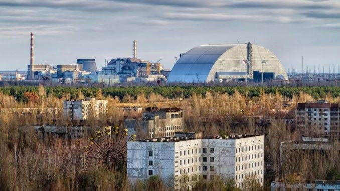 View from roof of 16-storied apartment house in Pripyat town, Chernobyl Nuclear Power Plant Zone of Alienation, Ukraine.