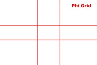 Graphic of Phi Grid for Golden Ratio photo composition by Sarah Vercoe.