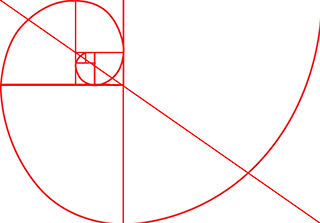 Graphic composition example of the Fibonacci Spiral by Sarah Vercoe.