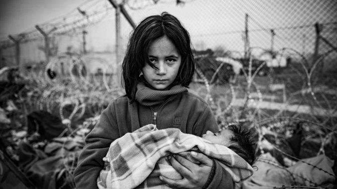 girl in refugee camp in Idomeni on the Greek-Macedonian border