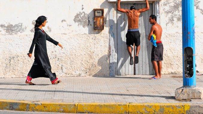 Young people on the streets of Casablanca, Morocco