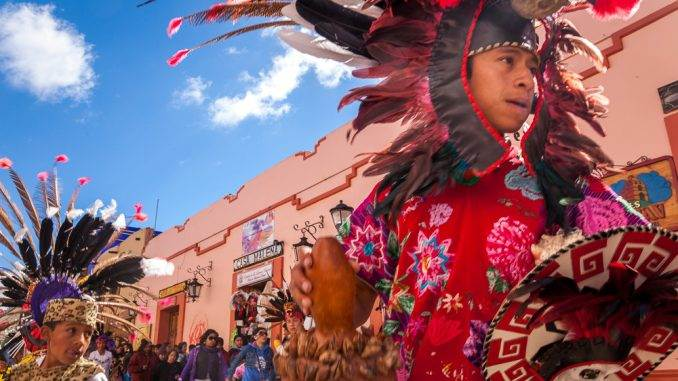 Aztec dancers during one of the many festivals in Chiapas
