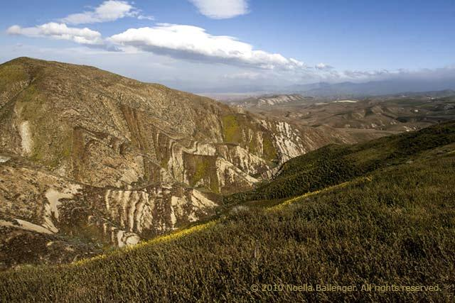 Photo of the formations of the San Andreas Fault line in California by Noella Ballenger.