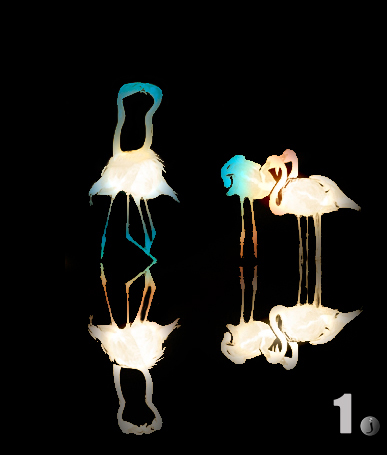 Creative photo of flamingos using post-processing techniques by Jim Austin