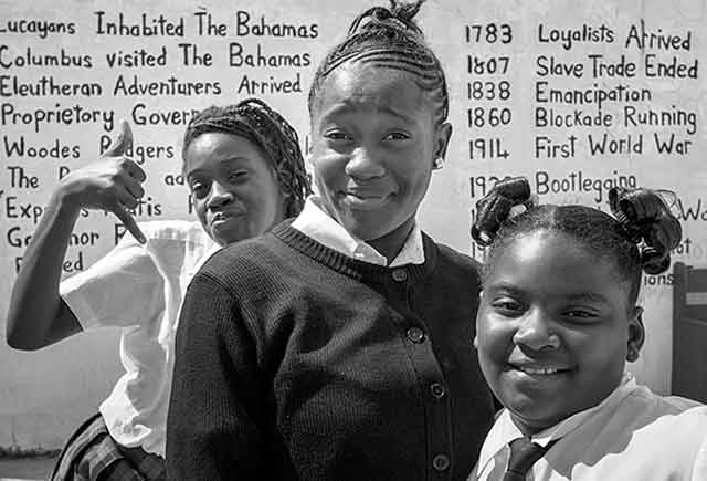 Black and White Inspired Photography: snapshot of Bahamas high school girls by Jim Austin.