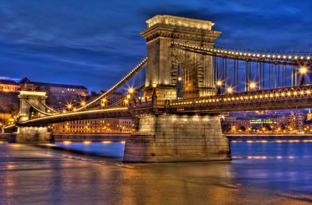 HDR Photography: Budapest bridge at twilight using high dynamic range / tonal mapping by Matthew Bamberg.