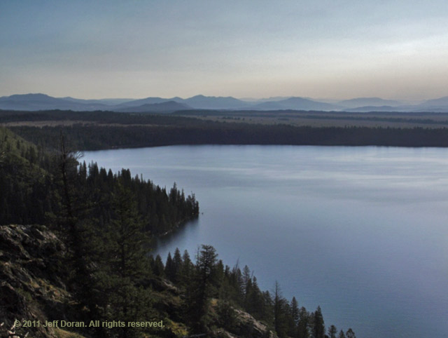Panoramic image of Jenny Lake made from Inspiration Point, Grand Tetons, Wyoming by Jeff Doran.
