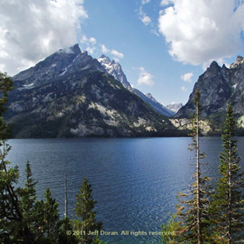 Photo of of Cathedral Group and Storm Point from Jenny Lake Loop Trail, Grand Tetons, Wyoming by Jeff Doran.