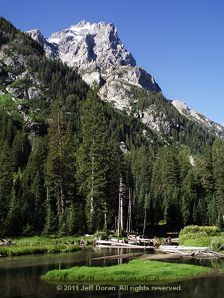 Photo of Mt. Owen from Cascade Canyon, Grand Tetons, Wyoming by Jeff Doran.