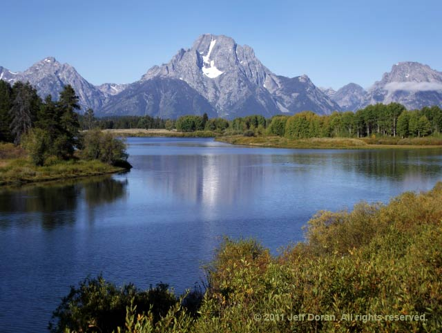 Image of the lake at Oxbow Bend, Grand Tetons, Wyoming by Jeff Doran.