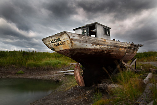 Photo by Barry Epstein of old boat called Altair washed ashore