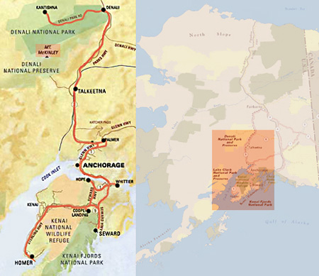 Map of journey through southern Alaska by Barry Epstein