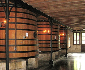 Photo of the Oak Vat Room at Chateau Pontet-Canet in Southern France by Doris Kolber