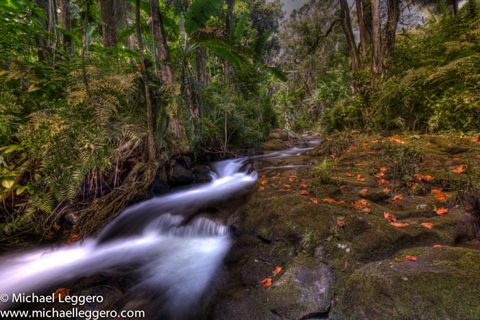Photo of river water with blurred water effect in Hawaii by Michael Leggero