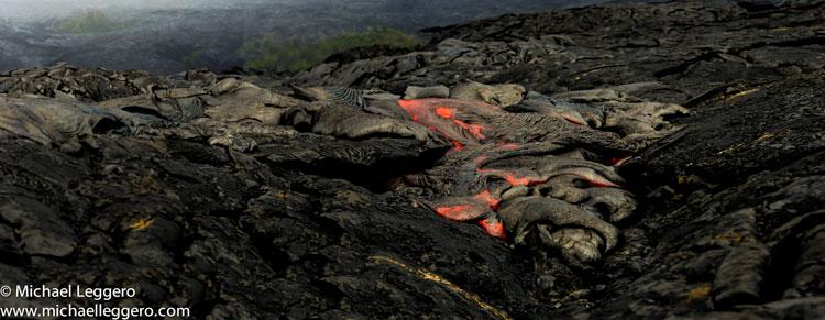 Landscape photo of hot Kilauea Volcano lava flow in Hawaii by Michael Leggero