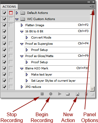 Screen shot of Actions Panel in Photoshop by John Watts